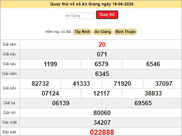 Quay thử kết quả xổ số miền Nam An Giang ngày 18/6/2020 thứ 5