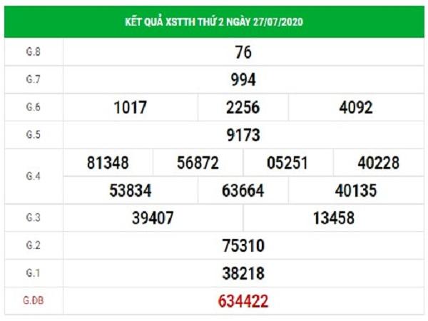 Dự đoán xổ số Thừa Thiên Huế ngày 3/8/2020 thứ 2 hôm nay